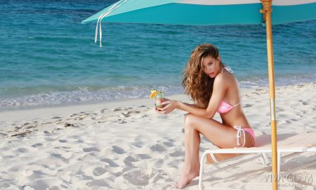 Top 20 Sexiest-2017-Brittany-Oldehoff-Eclectic-Couture-swim-Zemi-Beach-Anguilla-sit-umbrella, Photographer Deja Jordan Makeup Hair Katarina Van Derham