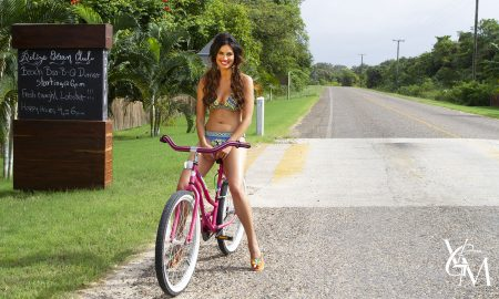Gorgeous model on a pink bicycle