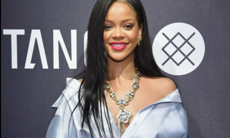 Rihanna Turns Heads In Plunging Shirt Dress