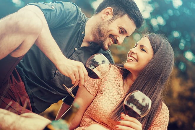 Fun-Party-Ideas-for-Adventurous-Adults-couple-drinking-wine