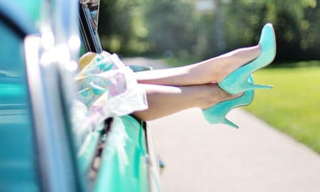 teal color pumps