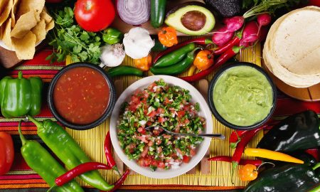 vegan-salsas-and-food-laid-out-on-a-table