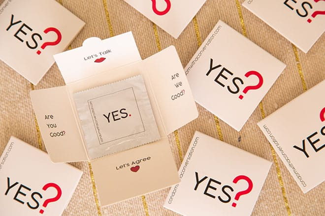 condoms with a conversation packaging