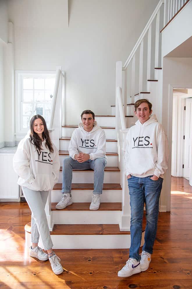 Charlotte Sedaka, Luca Wheeler and Jed Siegel, the creators of Condom with a Conversation