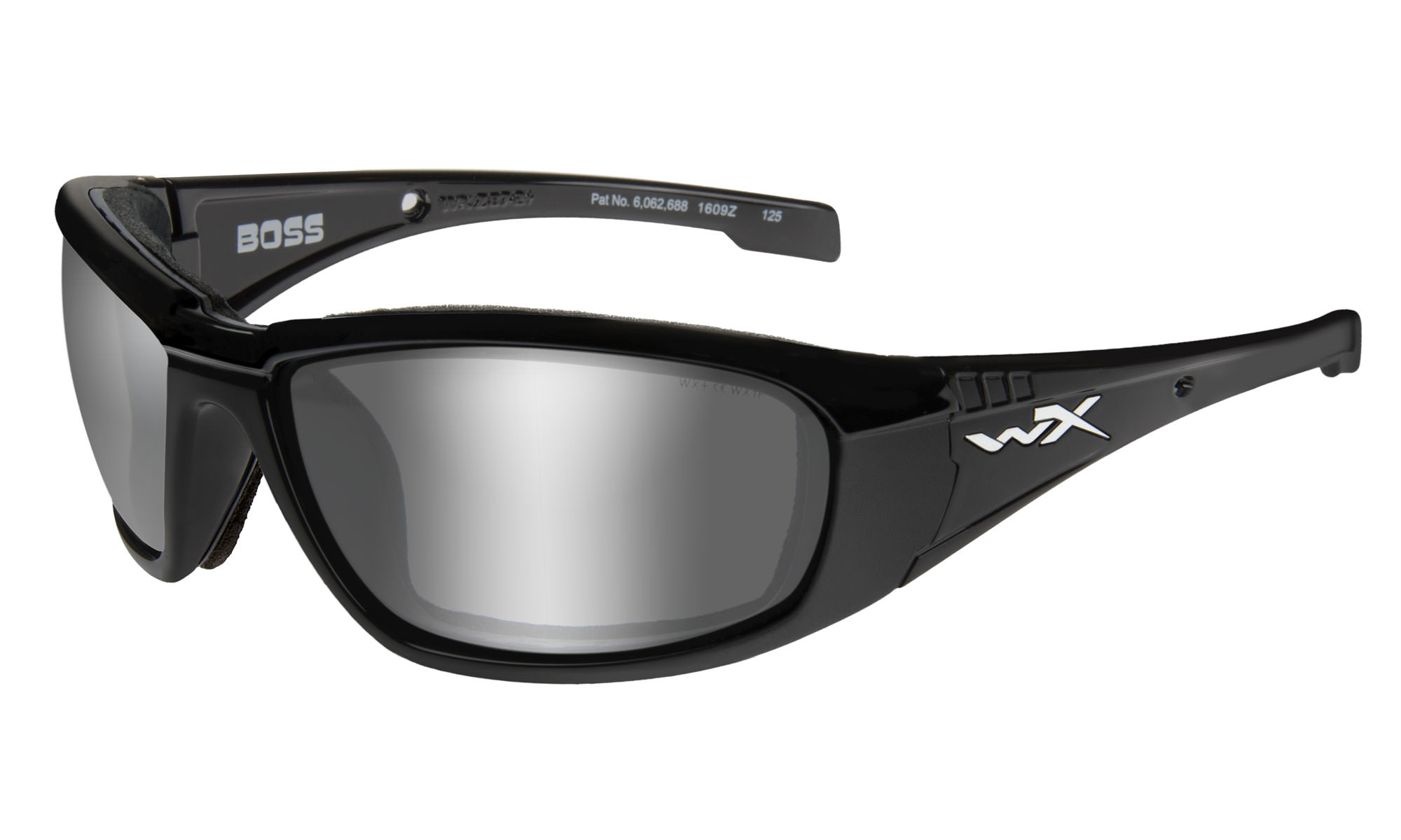 32f176a17cd7 Wiley-X WX Boss Gloss Black with Grey Silver Flash Lenses
