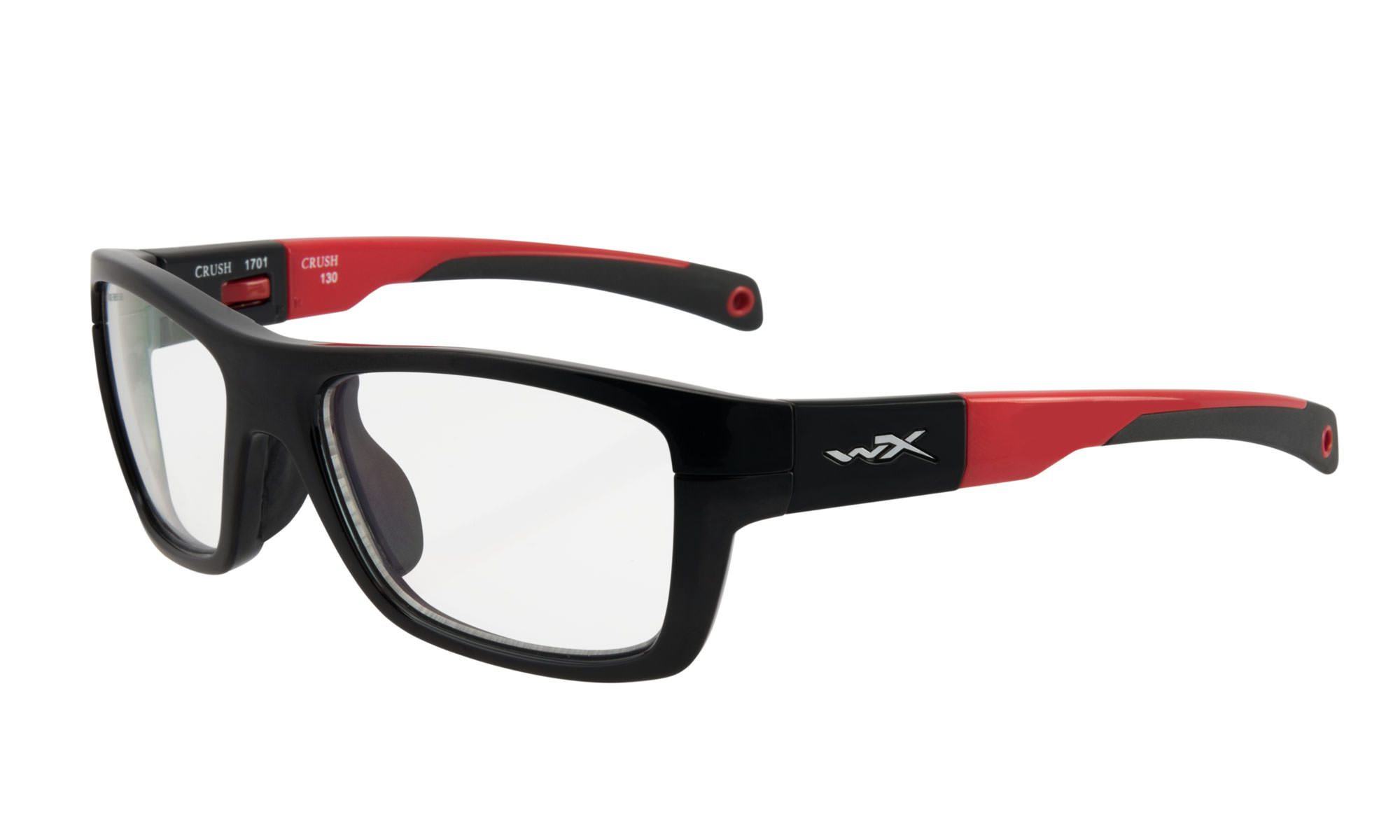 8f01a1bc28 Wiley-X WX Crush Gloss Black and Red with Clear Lenses