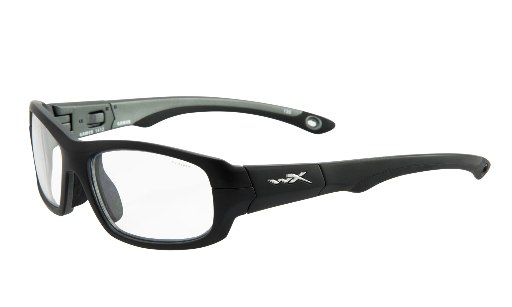 8682086c1239c Wiley-X WX Gamer Matte Black and Dark Silver with Clear Lenses