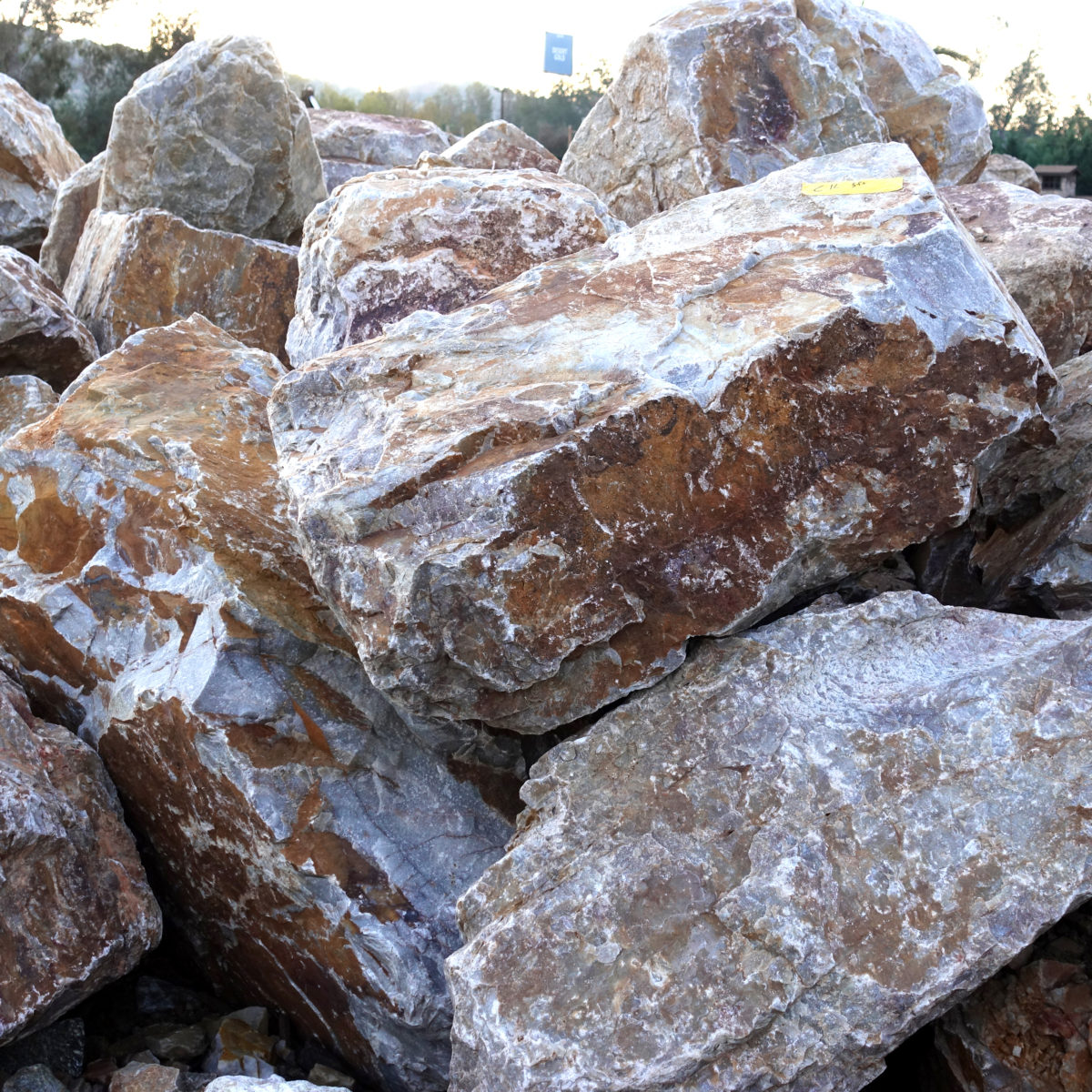 Reddish colored apache sunset boulder pile