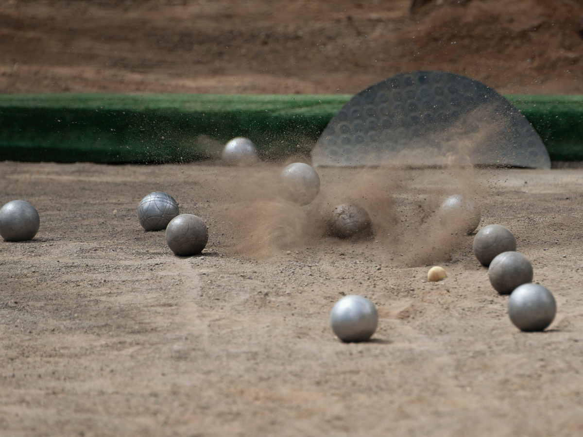 bocce ball court with decomposed granite