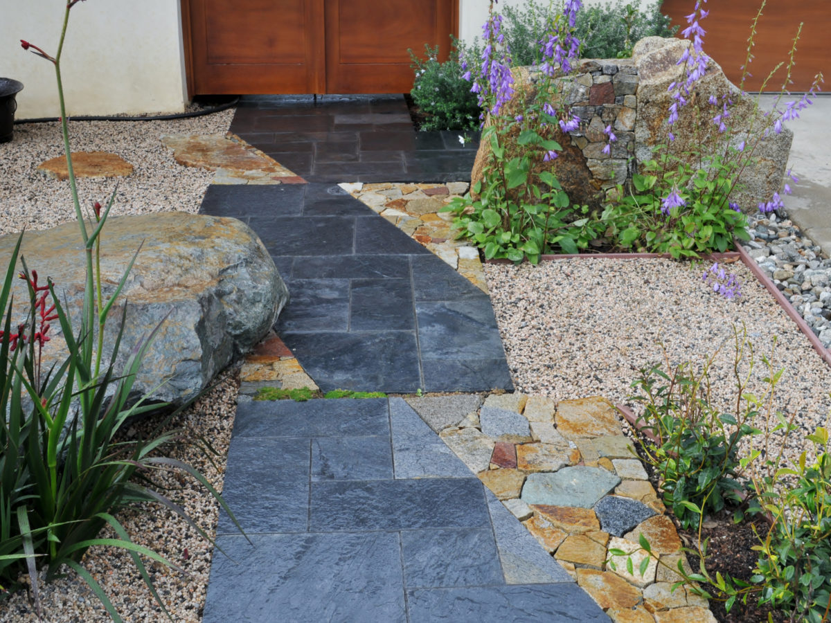 Flagstone pathway in Southern California zen garden