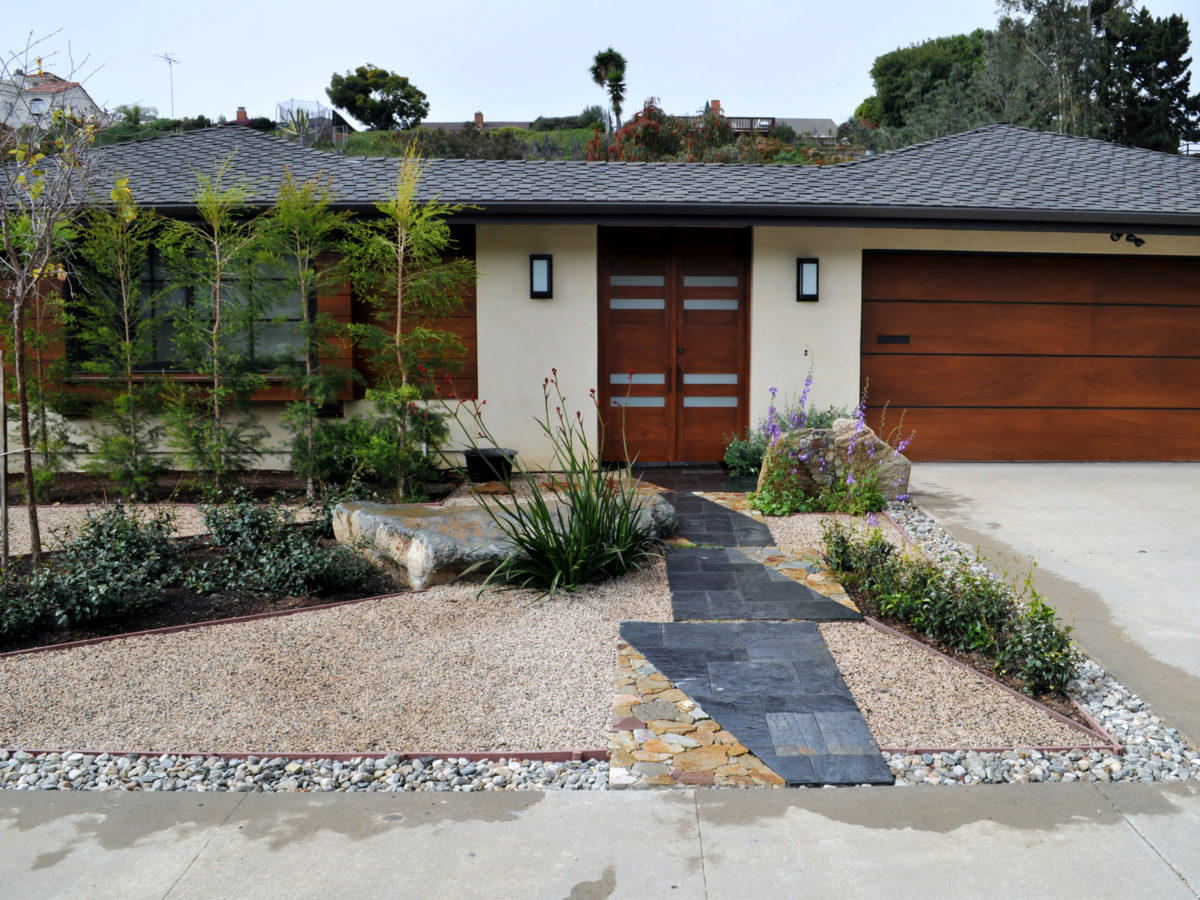 Front yard Japanese zen garden in Southern California