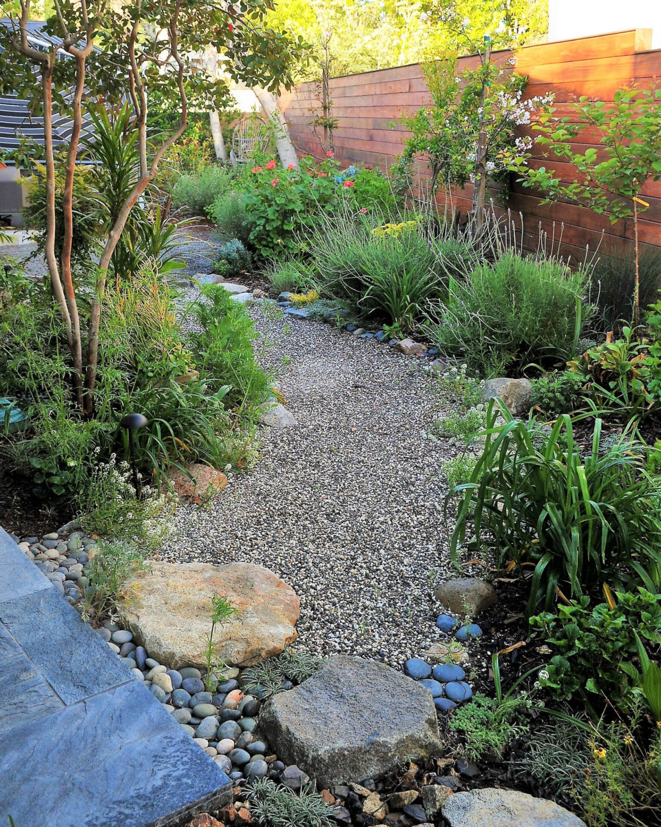 Zen garden pathway with crushed rock
