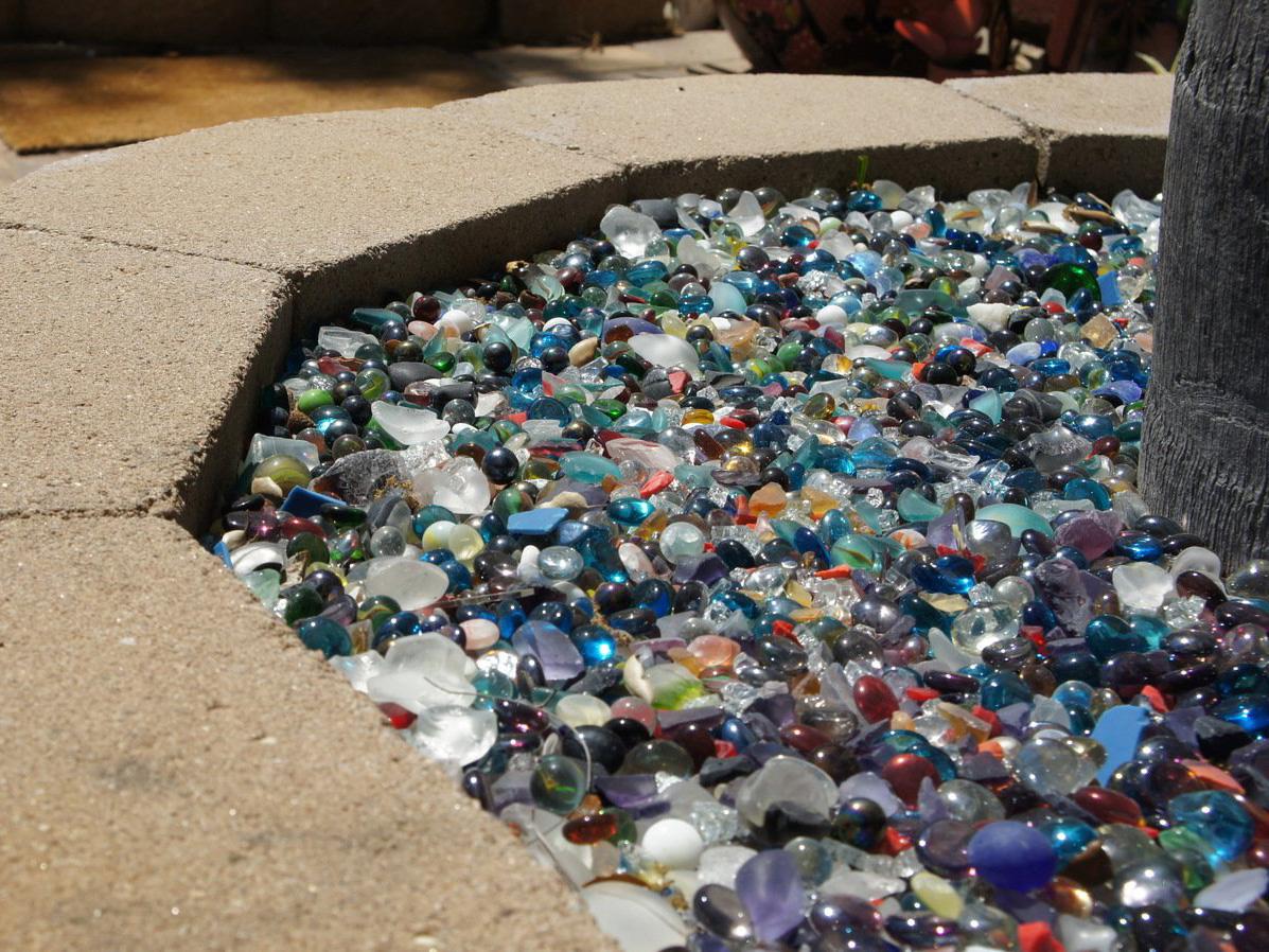 Multi colored glass in mosaic rock garden