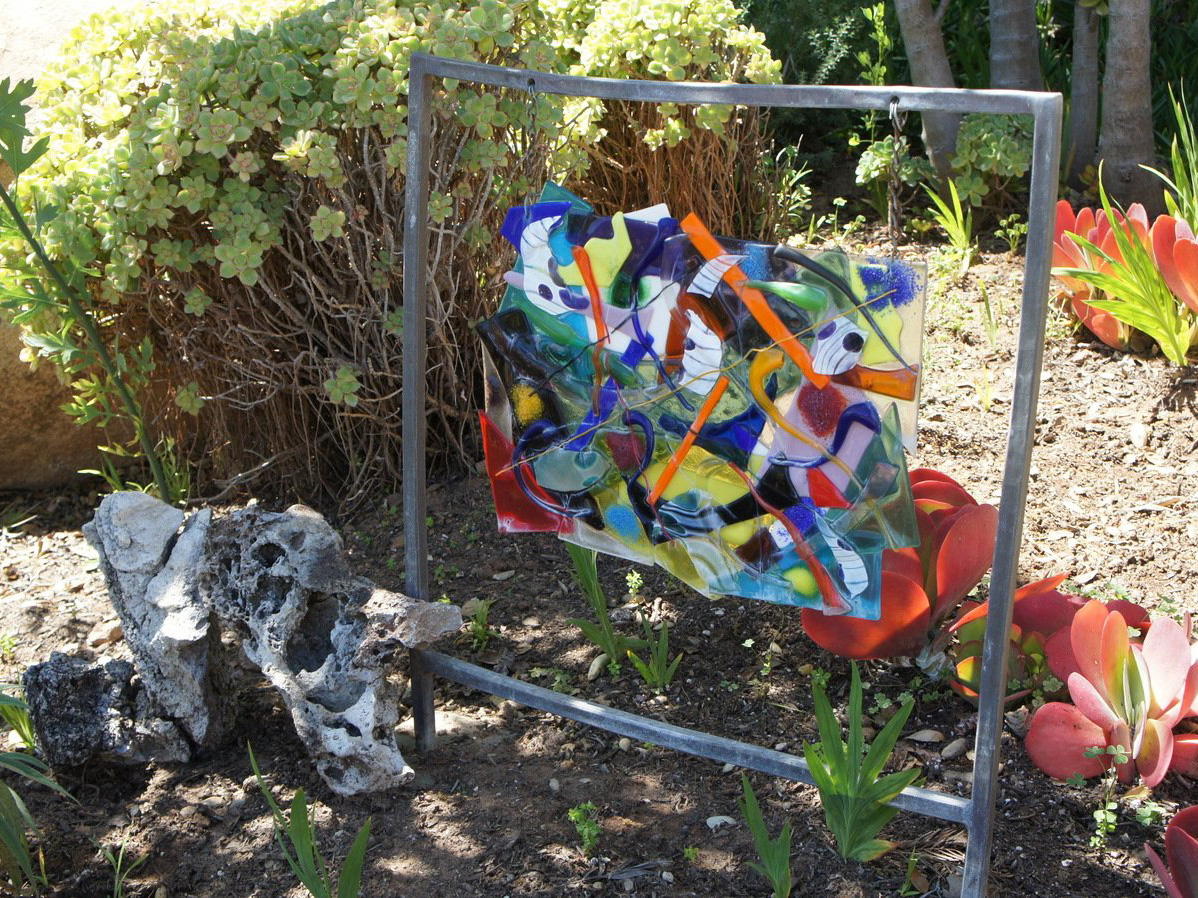 Hanging mosaic rock garden art piece