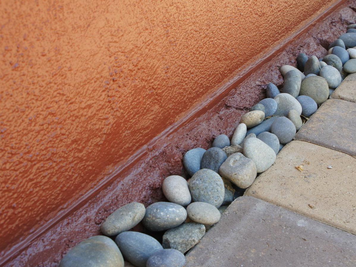 Mexican beach pebble in mosaic rock garden