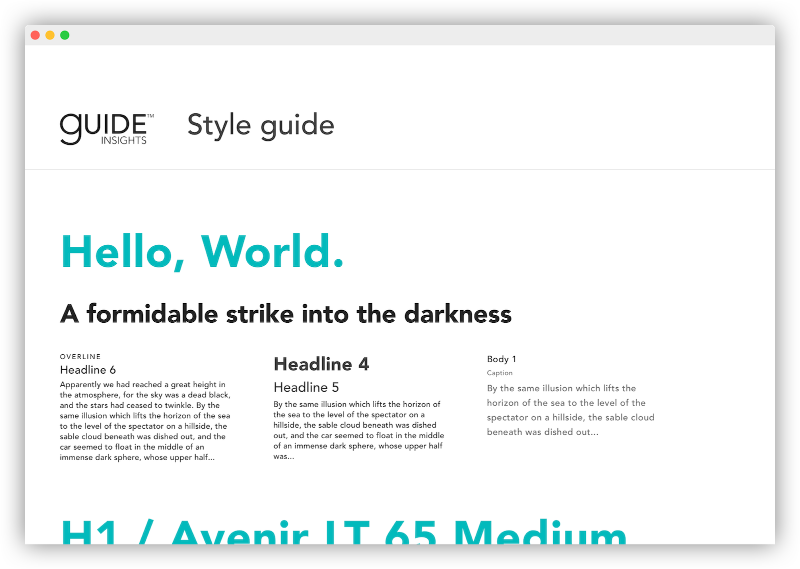 blank page styleguide