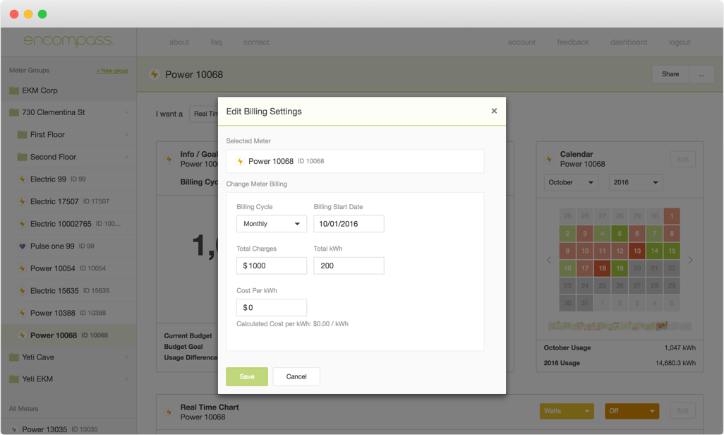 Billing settings allow users to input their billing info to calculate projected energy costs.