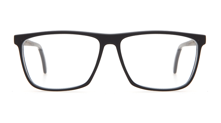 A pair of black reading glasses with clear lenses.