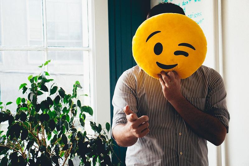 Tony Scherba holding an Emoji