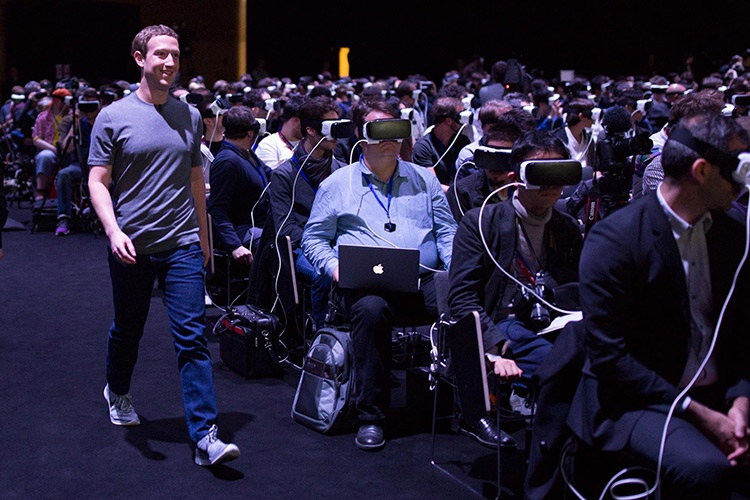 Facebook's founder, Mark Zuckerberg showing employees VR prototypes