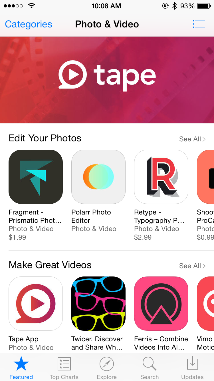 Tape App featured in the Photo & Video Section of the App Store
