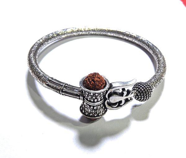 Silver Shiv Damru Trishul Kada for Men