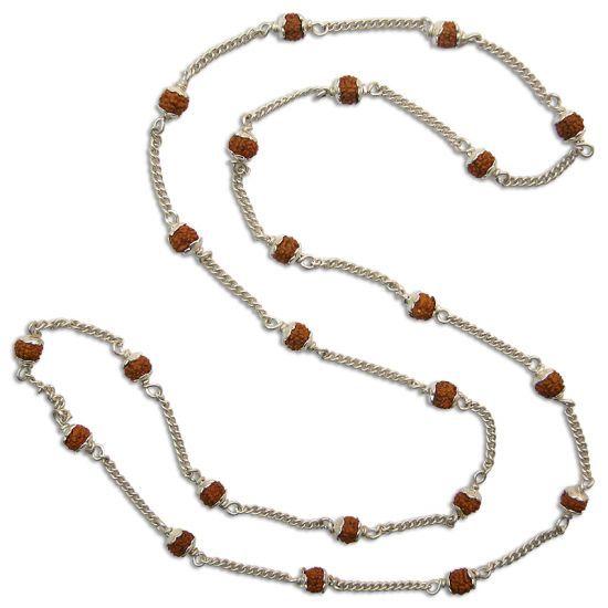 Rudraksha Mala - Silver Chain