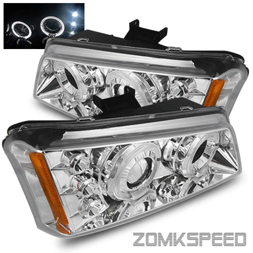 for 2002 2006 chevy avalanche chrome halo left right projector headlights lamps ebay. Black Bedroom Furniture Sets. Home Design Ideas